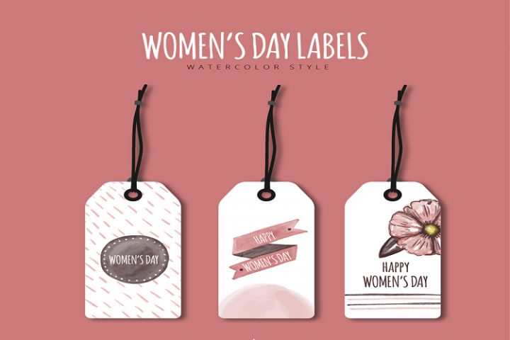 Painted womens day tag vector