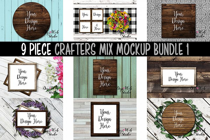 Mockup Bundle - 9 Piece Wood Signs & Frames Crafters Mix 1
