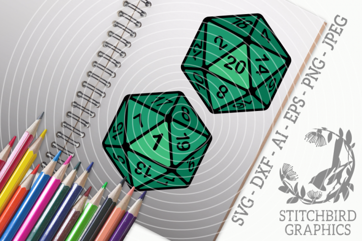 D20 coloured twin pack SVG, Silhouette Studio, Cricut, Eps