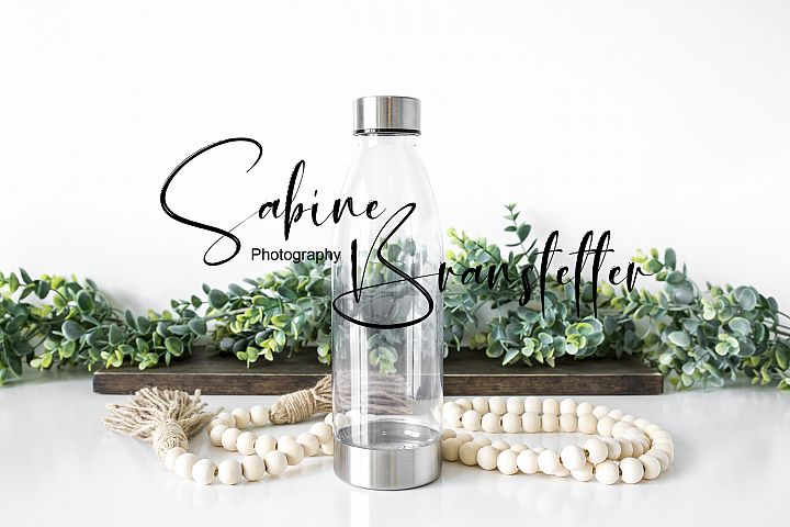Styled Stock Photography Clear/Silver Water Bottle Mockup