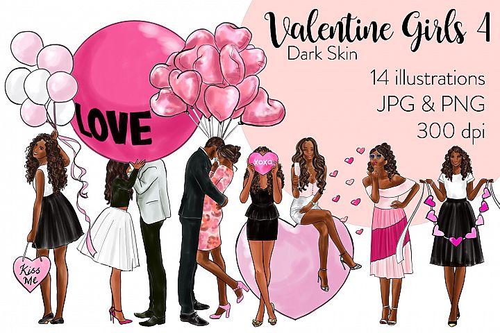 Fashion illustration clipart - Valentine Girls 4 - Dark Skin