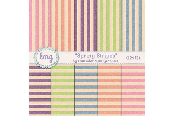 Spring Stripes Digital Scrapbook Paper