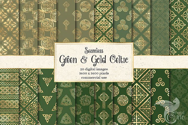 Green and Gold Celtic Digital Paper