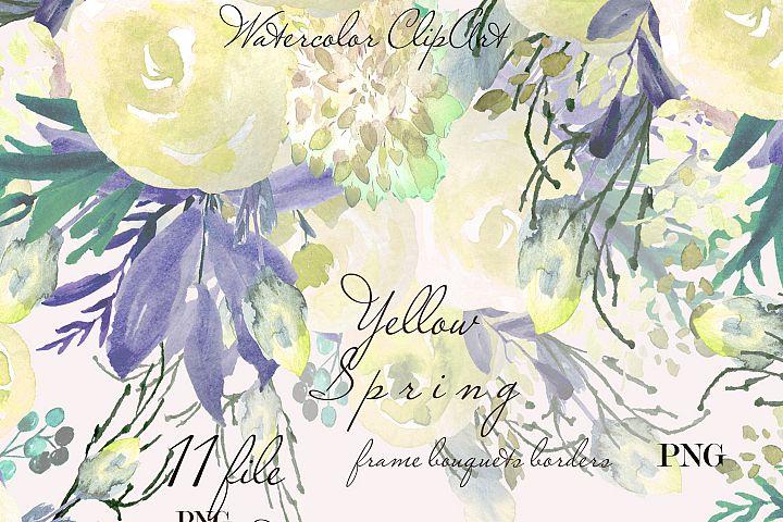 Light flower clip art Watercolor floral frame