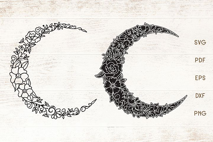 Floral Crescent Moon - SVG - Vector