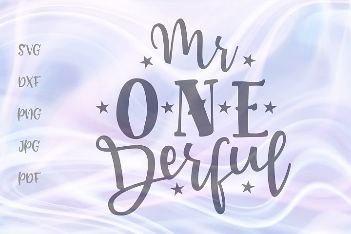 Mr ONE derful 1st Birthday Boy Outfit Sign Cut File SVG DXF