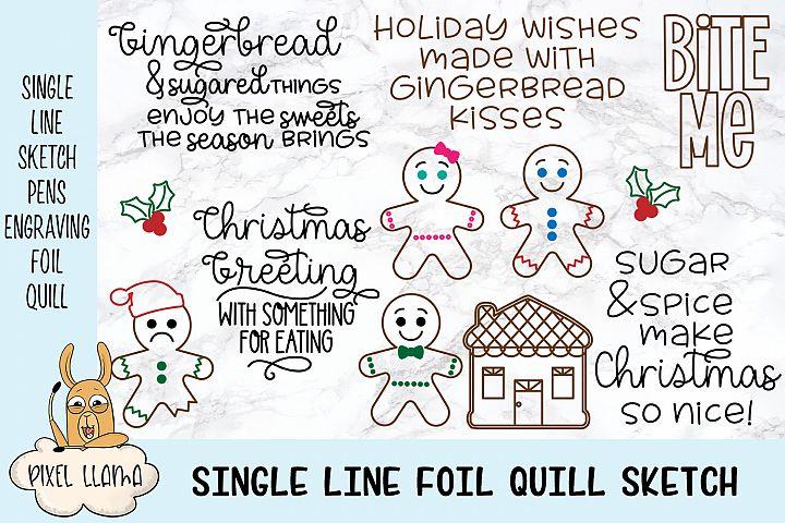 Gingerbread Bundle Single Line Sketch Designs