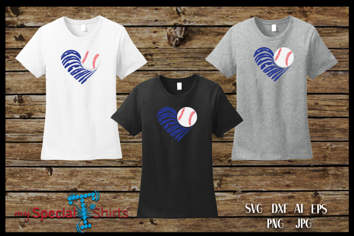 Baseball Heart Cut Out SVG, DFX, EPS, JPG, PNG