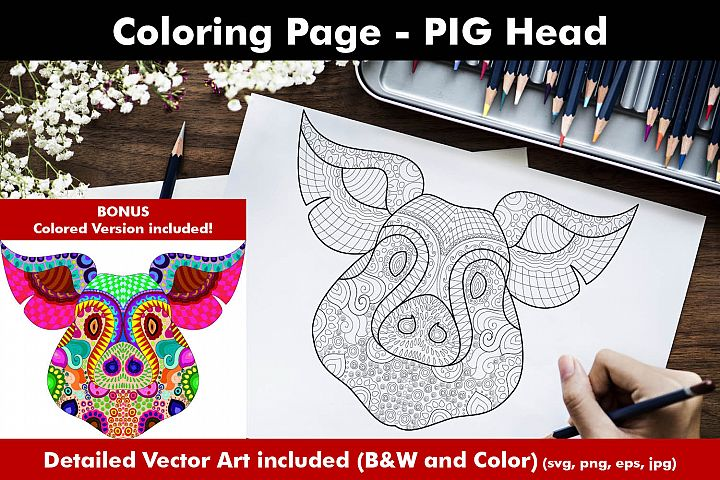 Pig Face Coloring Page for Adults