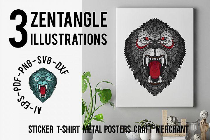 Zentangle Stylized Gorilla Head