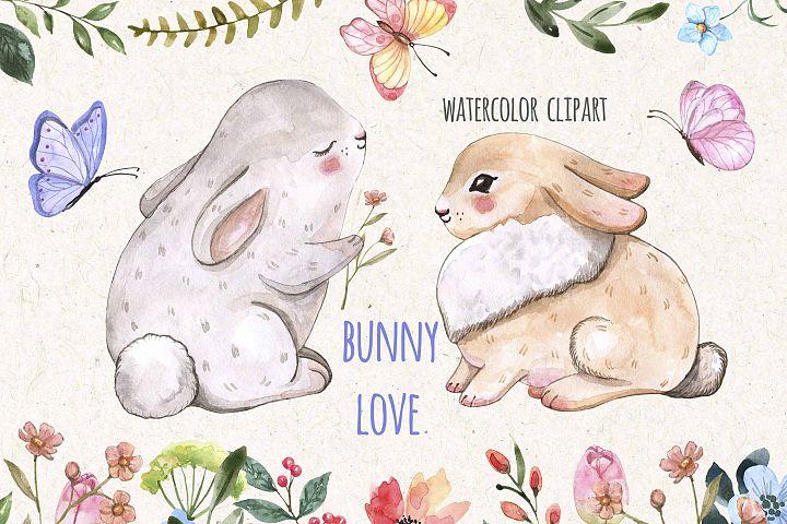 Easter Bunnies Watercolor Cute Baby Rabbit Animal Clipart