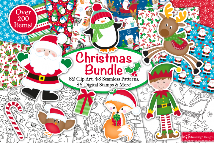 Christmas bundle, Christmas graphics and illustrations,santa