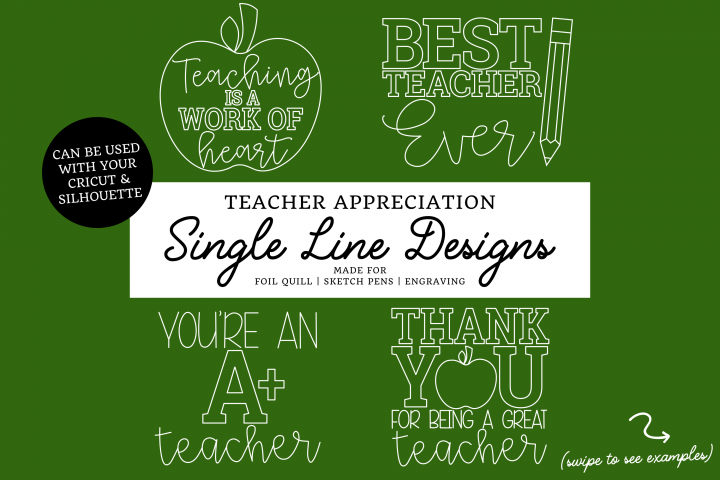 Teacher Single Line Designs | Foil Quill | Sketch Design