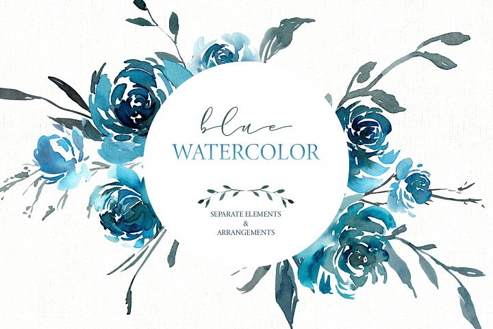 Watercolor Turquoise Blue Flowers PNG Collection