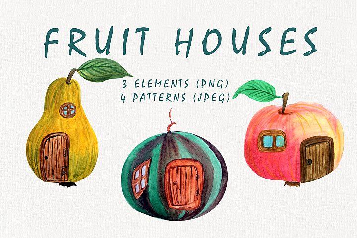 Watercolor Fruit Clipart. fruit houses