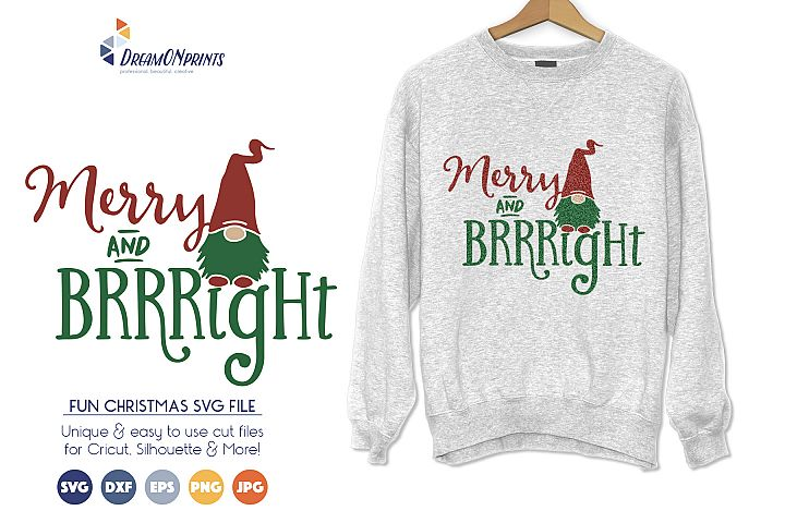 Fun Christmas SVG Cut Files - Merry & Bright Gnome SVG