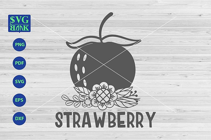 Strawberry svg, Strawberry with flower svg, png, dxf, cut