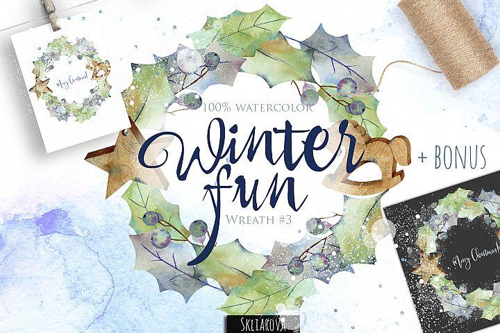 Winter fun. Wreath #3