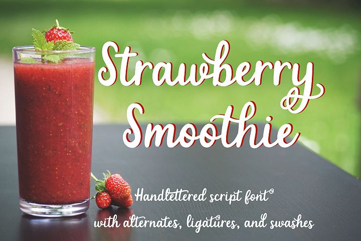 Strawberry Smoothie- A handlettered script font