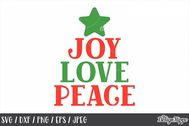 Joy Love Peace, Christmas, SVG, PNG, DXF, Cricut, Cut Files