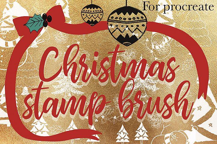 Christmas procreate stamp brush set