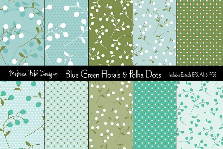 Blue Green Florals & Polka Dots