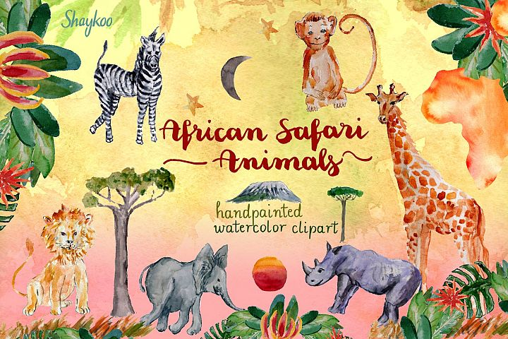 African Safari Animals Watercolor Clipart, Nursery Animals