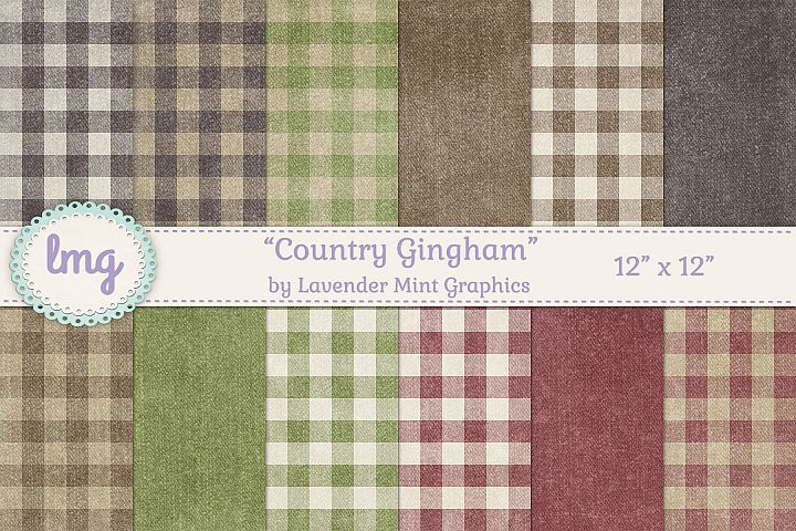 Country Gingham Background Papers in Brown, Green, and Red