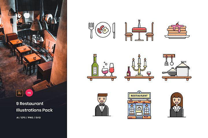 9 Restaurant Illustrations Pack
