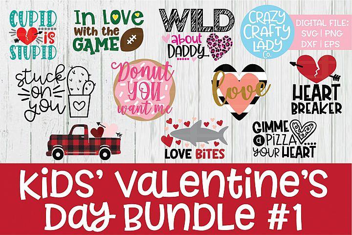 Kids Valentines Day SVG DXF EPS PNG Cut File Bundle
