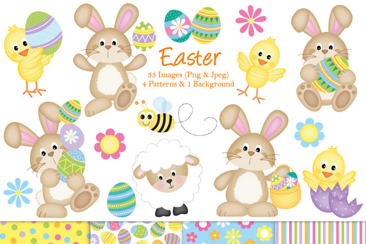 Easter clipart, Easter bunny graphics & illustrations