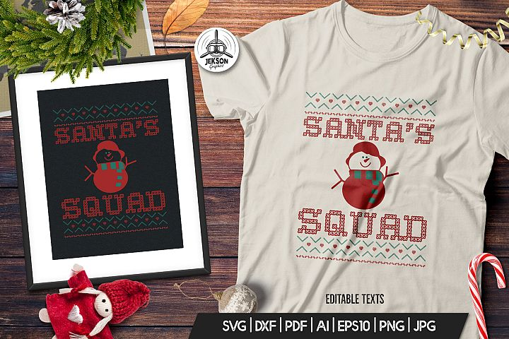 Christmas Santa Squad Sweater T-Shirt. Xmas SVG Print Design