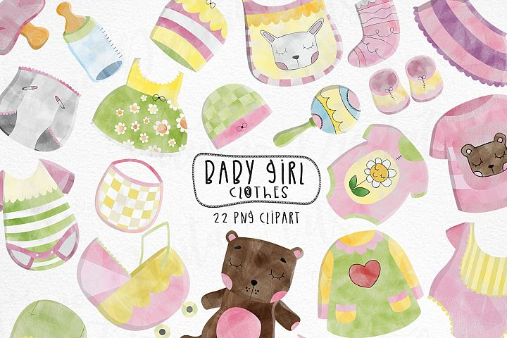 Watercolor Baby Clothes clipart. Set of 22 png