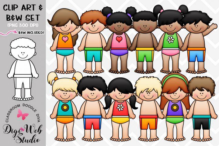 Clip Art / Illustrations - Swimsuit Kids