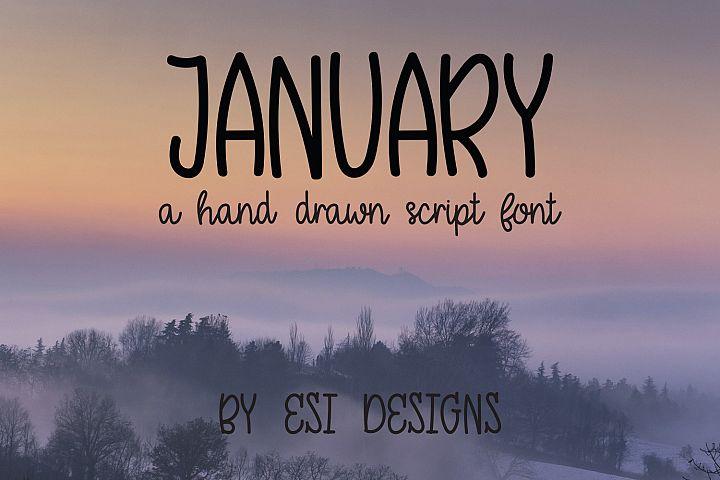 January - A Modern Hand Drawn Script Font