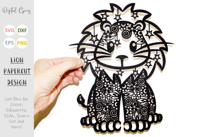 Lion paper cut SVG / DXF / EPS files