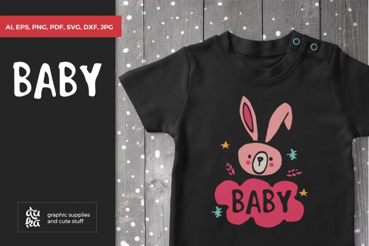 Baby SVG, Baby Bunny, Newborn, Nursery, Scandinavian, Kids