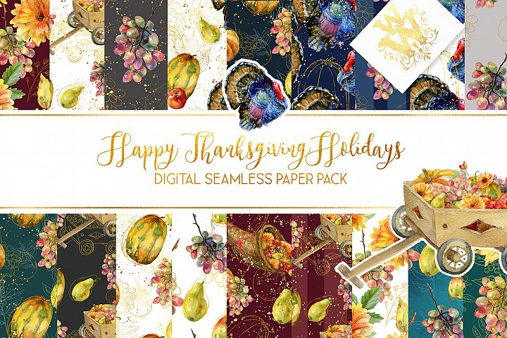 Thanksgiving holiday watercolor seamless digital paper pack