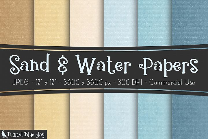 Digital Paper Textured Backgrounds - Sand & Water
