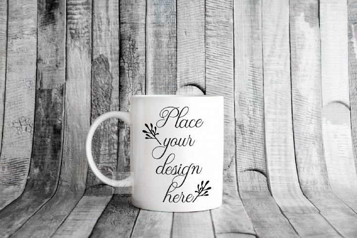 Rustic mug mock up neutral 11oz cup stock photo mockup