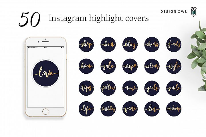 Instagram highlight covers - Gold script on navy