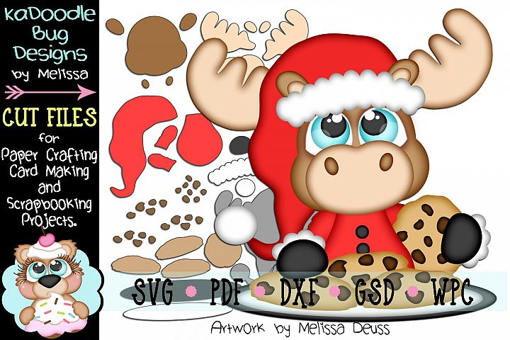 Christmas Cookie Moose Cut File - SVG PDF DXF GSD WPC