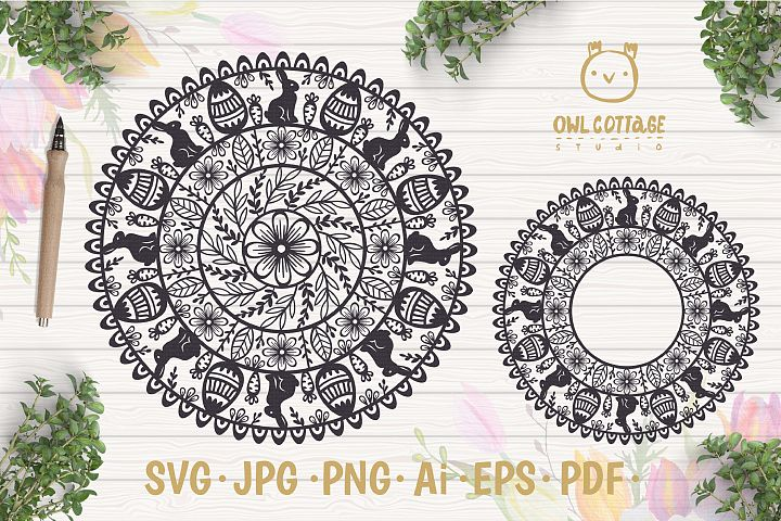 Easter Mandala Decor with Bunnies and Easter Eggs, Easter Mo