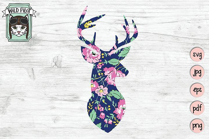 Floral Deer Silhouette, Deer Head, Sublimation, Clipart
