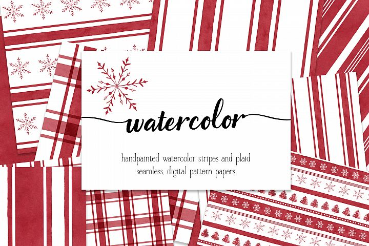 12 Watercolor Red Candy Plaids, Stripes, & Snowflake Digital