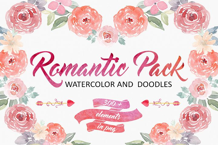 Romantic Pack.Watercolor and Doodles