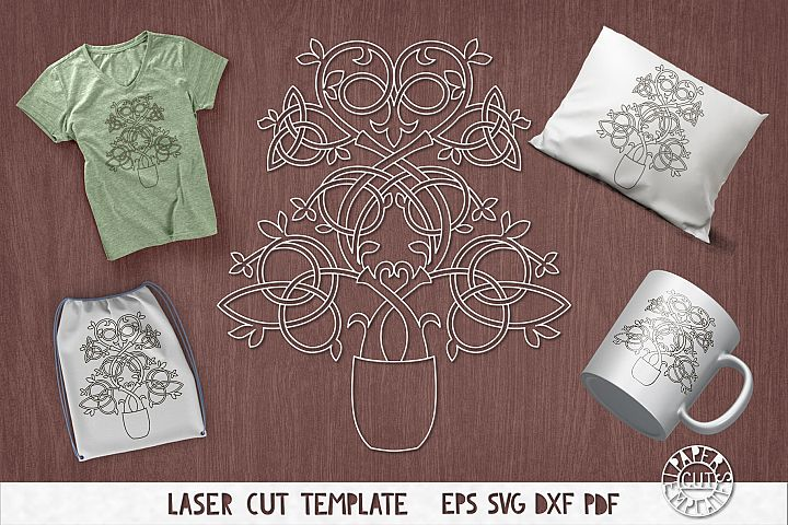 SVG celtic tree of life for laser cutting. Irish stencil.