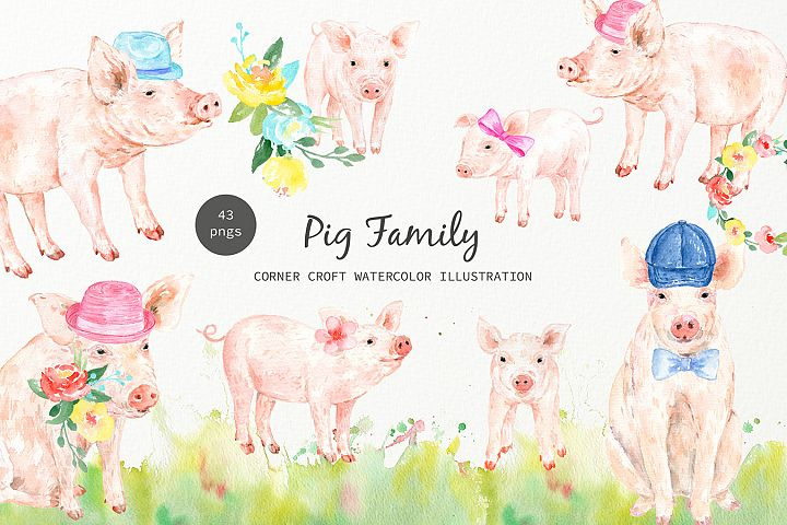 Watercolor pig family clipart for instant download
