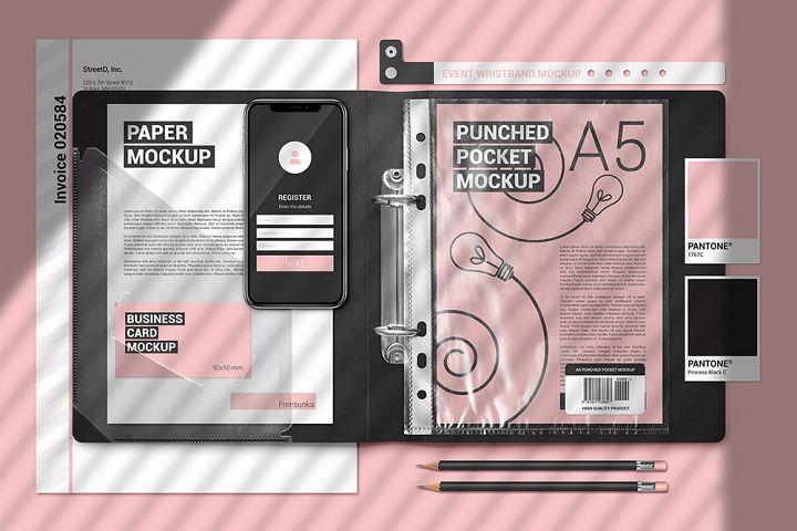 A5 Papers In Plastic Folder Scene Mockup