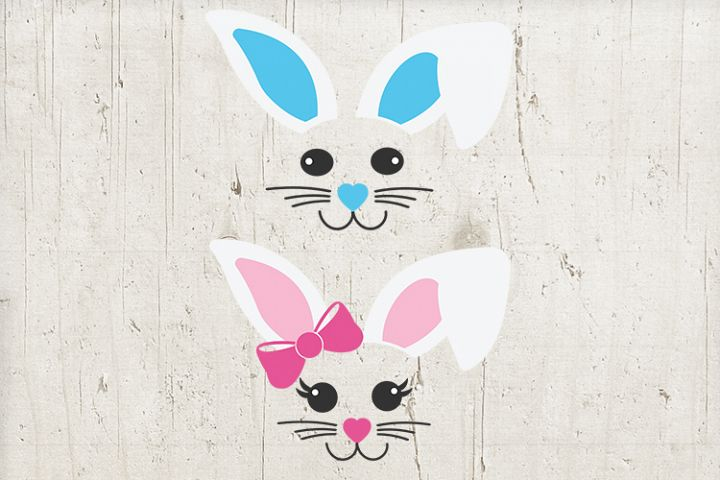 Easter bundle svg - boy Girl Easter svg - Bunny Ears Face